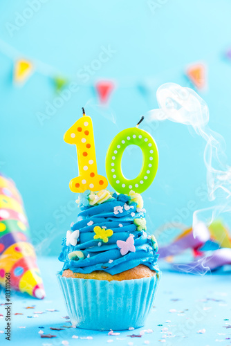 Tenth 10th Birthday Cupcake With Candle Blow OutCard Mockup