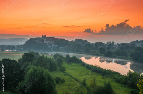 Stickers pour porte Orange eclat Colorful morning landscape in the morning, Poland, Tyniec near Krakow