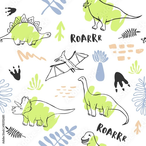 Cotton fabric Seamless pattern with cute dinosaurs for children textile , wallpaper , posters and other design