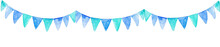 Watercolor Blue Party Flags Ba...