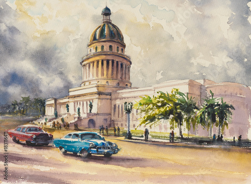 Valokuva  Old classic American cars rides in front of the Capitol in Havana,Cuba