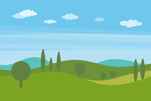 Vector Flat Landscape With Gre...