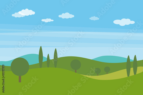 Fototapeta Vector flat landscape with green hills and trees and blue bright sky with clouds obraz
