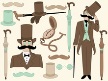 Vector Victorian Era Set With Elegant Gentleman And Vintage Accessories