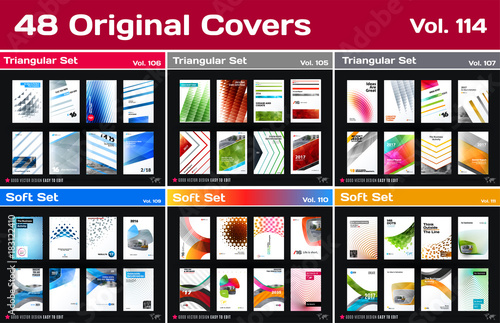 Photo  Mega set of design of business vector template, brochure, abstract annual report
