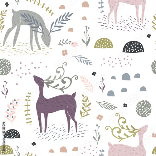 Seamless pattern with deers, floral elements, branches. Creative woodland background. Perfect for kids apparel,fabric, textile, nursery decoration,wrapping paper.Vector Illustration