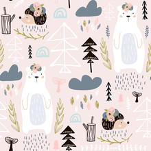 Seamless Pattern With Bear, Floral Elements, Branches, Hedgehog. Creative Forest Height Detailed Background. Perfect For Kids Apparel,fabric, Textile, Nursery Decoration,wrapping Paper.