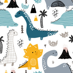 Fototapeta Childish seamless pattern with hand drawn dino in scandinavian style. Creative vector childish background for fabric, textile