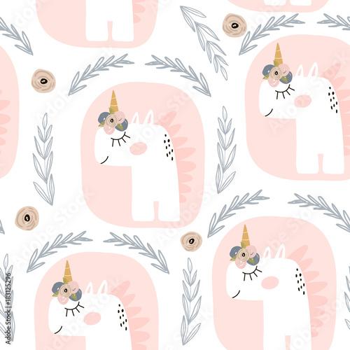 Stoffe zum Nähen Niedliche Musterdesign mit Feen Einhörner. Kindisch Textur, Stoff, Textil. Skandinavischen Stil. Vektor-Illustration
