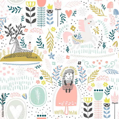 seamless-woodland-pattern-creative-height-detailed-background-perfect-for-kids-apparel-fabric-textile-nursery-decoration-wrapping-paper-vector-illustration