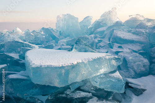 Aluminium Prints Green blue Cristal clear ice of Baikal lake. Siberia.