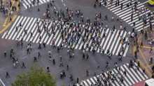Pedestrian Crosswalk In Shibuya, Tokyo. High Angle Time Lapse Of People Crossing The Street In Business District
