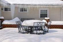 Backyard Deck In Winter Close ...