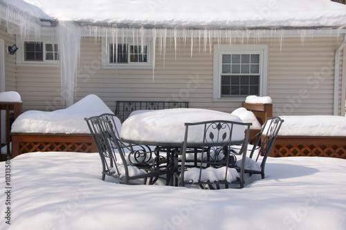 Foto op Canvas Drawn Street cafe Backyard Deck in Winter Close Crop