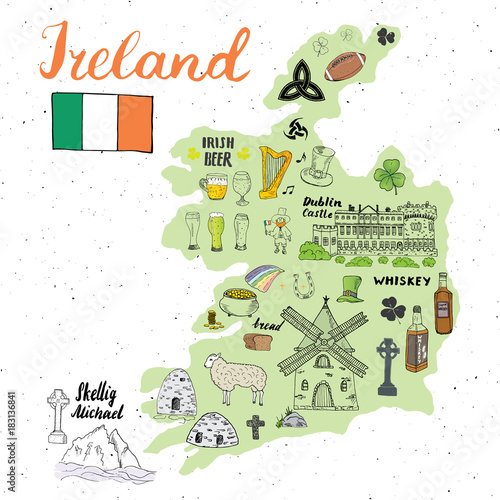 Ireland Sketch Doodles Canvas Print