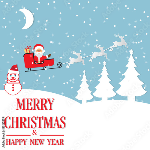 Fototapety, obrazy: Merry Christmas and Happy New Year. Illustration of Santa Claus.