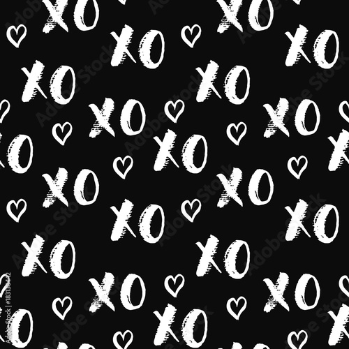 XOXO brush lettering signs seamless pattern, Grunge calligraphiv c hugs and kiss Canvas-taulu