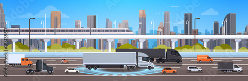 Fotografía Modern Highway Road With Cars, Lorry And Cargo Trucks Over City Background Traff