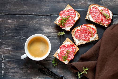 Fototapeta Cheese and salami sandwiches obraz