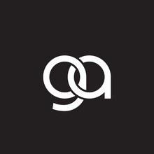 Initial Lowercase Letter Ga, Overlapping Circle Interlock Logo, White Color On Black Background