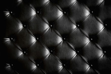 Luxurious Black Leather Texture Furniture With Buttons