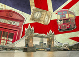 Fototapeta Londyn - Collage of Big Ben, London Bus, Tower Bridge and Palace of Westminster