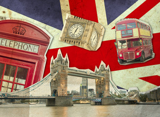Fototapeta Collage of Big Ben, London Bus, Tower Bridge and Palace of Westminster