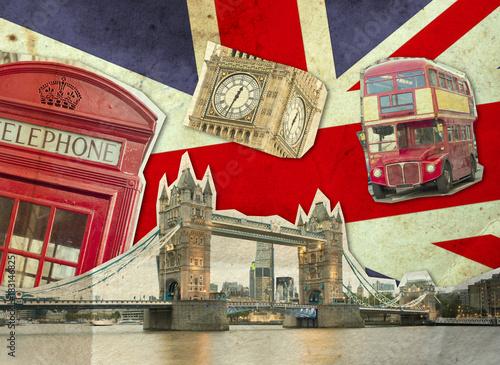 Obrazy Londyn   kolaz-przedstawiajacy-big-bena-london-bus-tower-bridge-i-palac-westminsterski