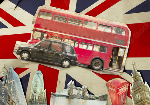 Foto op Canvas Londen rode bus Collage of Big Ben, London Bus, Tower Bridge and The City of London