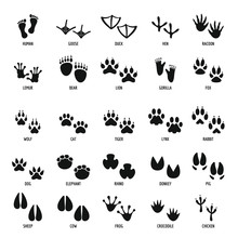 Animal Footprint Icons Set, Si...