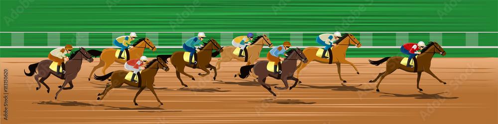 Fototapety, obrazy: Horse racing, Racecourse, Jockey