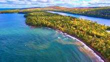 Lake Superior Coastline Rocks Waves Fall Forest Aerial