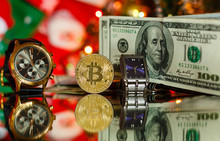 Watches With Bitcoin Close Up On Christmas Background