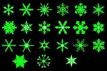 Green Neon Snowflakes