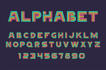 Vector of Linear font and alphabet