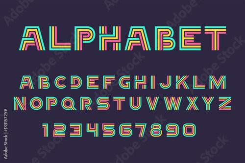 Fotografía  Vector of Linear font and alphabet