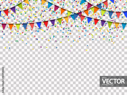 Obraz seamless garland and confetti background with vector transparency - fototapety do salonu