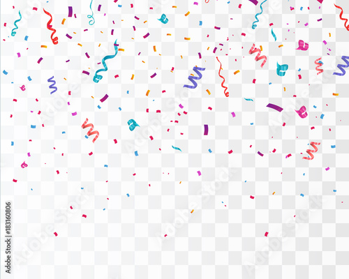 Obraz Colorful bright confetti isolated on transparent background. Festive vector illustration - fototapety do salonu