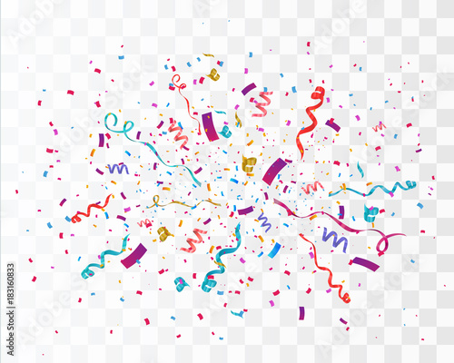 Obraz Confetti isolated on transparent background. Festive vector illustration - fototapety do salonu