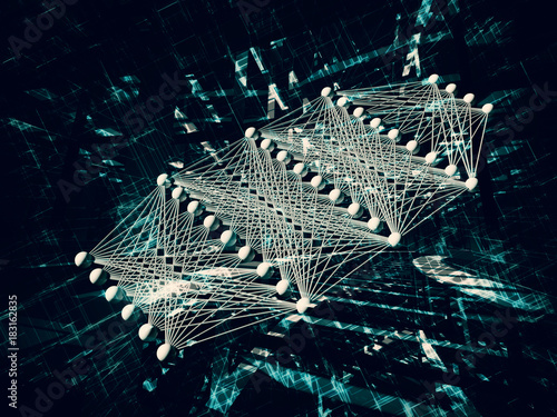 Fotografía  Artificial deep neural network 3d
