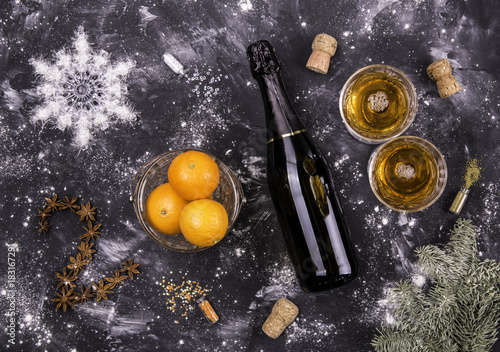 Fotografie, Obraz  New 2018 from products and spices against a dark background