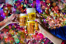 Celebration With A Beer Mug Background Bokeh Is A Concept Of Celebration And Social Gatherings.