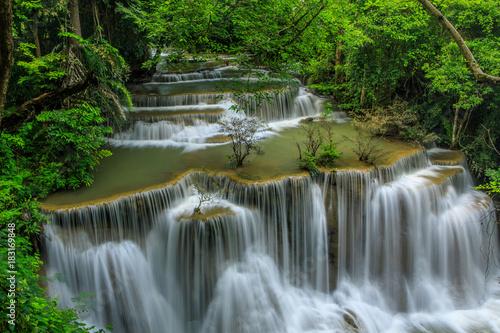 Wall Murals Waterfalls Huai-mae-kha-min waterfall, Beautiful waterwall in nationalpark of Kanchanaburi province, ThaiLand.