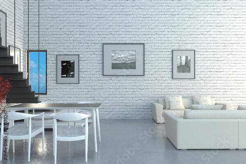 Soggiorno con mattoni bianchi e arredo moderno – kaufen Sie diese ...
