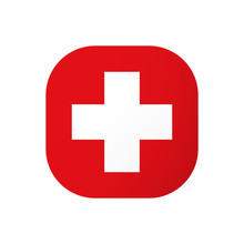 Medical Icon Wih White Cross On Red Background