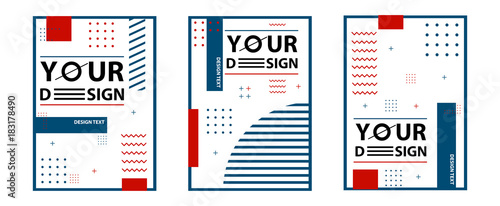 Obraz Memphis style cards. Set of templates in trendy memphis fashion 80-90s. Perfect for ad, greeting cards, presentation, cover design and more. Vector illustration for your design . - fototapety do salonu