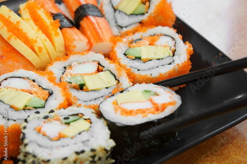 Delicious Sushi Roll Seaweed With Salmon Raw Shrimp Eggs And Sesame