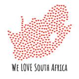 Republika Południowej Afryki Mapa z czerwonymi sercami - symbol miłości. abstrakcyjne tło - 183183428