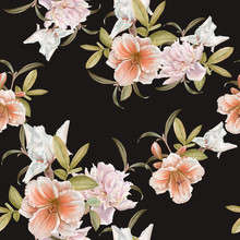 Floral Seamless Pattern With Lily, Peony, Iris