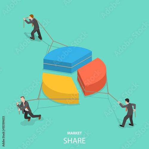 Fotografie, Tablou  Market share flat isometric vector concept